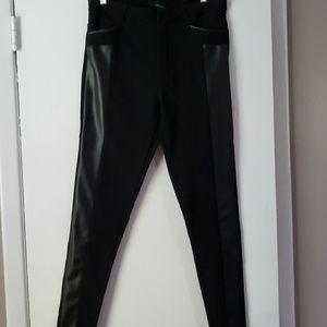 Trendy skinny leggings with faux leather trim